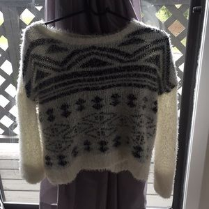 Fuzzy black and white sweater